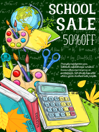 Education, school supplies sale promotion banner Illustration