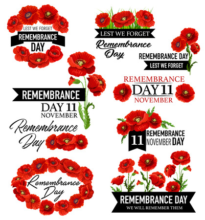 Poppy flower memorial wreath for Remembrance Day