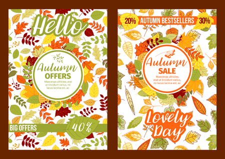 Autumn vector sale posters of fall leaf foliage