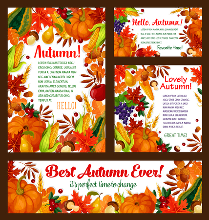 Autumn foliage, pumpkin, maple leaf vector poster