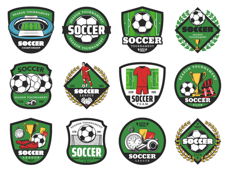 Football sport and soccer ball icons Illustration