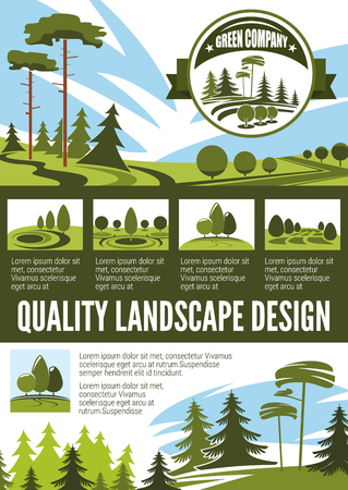 Garden and park landscape architecture poster Ilustracja