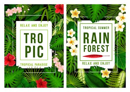 Zomer tropisch strand vakantie poster voor exotische vakantie sjabloon. Tropisch palmgroen bladframe, versierd met Hawaiiaanse bloem van hibiscus, orchidee en plumeria voor zomerseizoen thema's ontwerp Stockfoto - 103868611
