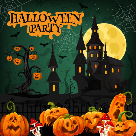 Halloween night party invitation with horror house