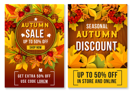 Autumn sale online discount vector poster