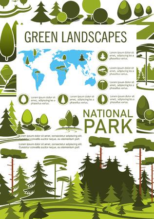 Park tree poster for landscape architecture design  イラスト・ベクター素材