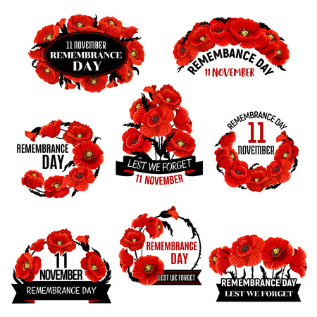 Remembrance Day red poppy flower wreath icon 矢量图像