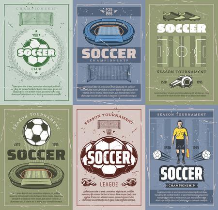 Vintage piłka nożna lub piłka nożna sport nieczysty plakat meczu konkurencji zespołu. Piłka nożna, mistrzostwa w piłce nożnej, puchar trofeum w ramie wieńca laurowego na projekt transparentu w stylu vintage turnieju sportowego Ilustracje wektorowe