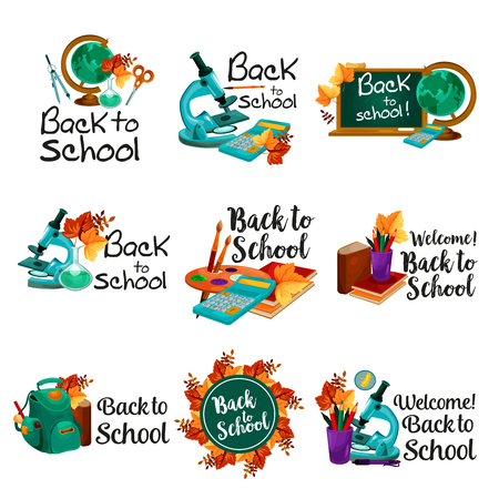 Back to School vector lesson stationery icons