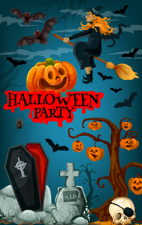 Halloween party promotion banner with october holiday horror cemetery and monsters. Witch, bat and spooky pumpkin lantern, scary skeleton skull, spider net, coffin and gravestone for invitation design