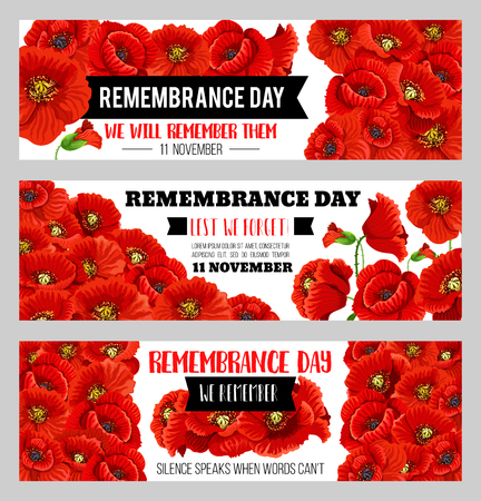 Remembrance day 11 November vector poppy banners
