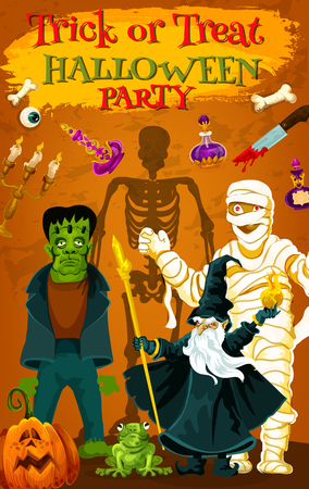 Halloween holiday trick or treat horror party poster. Spooky zombie, skeleton, mummy and evil wizard invitation banner design, decorated by Halloween pumpkin lantern, potion bottle and monsters Illustration