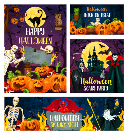 Happy Halloween greeting banner for trick or treat and horror party invitation. October holiday scary pumpkin lantern, bat and skeleton, zombie, spider and vampire, mummy and devil demon poster design Illustration