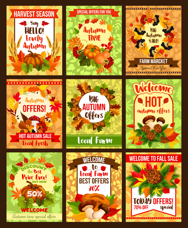 Autumn seasonal sale fall discount promo posters