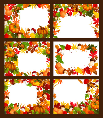 Autumn time leaf and harvest vector posters