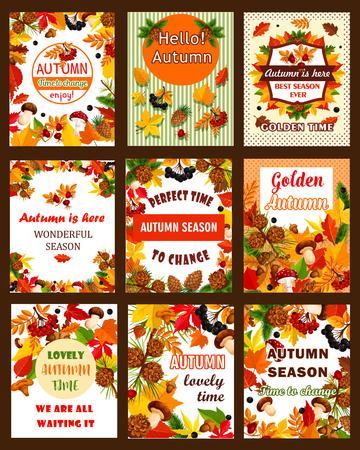 Autumn season nature retro poster and banner set