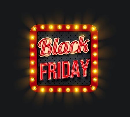 Black Friday sale promo banner with light frame