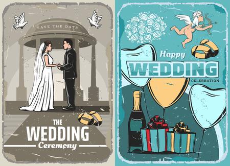 Wedding invitation or save the date vintage banner