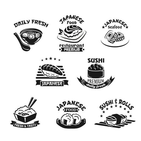 Vector template icons for sushi seafood restaurant