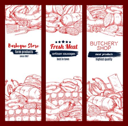 Meat and sausage sketch banner set for food design