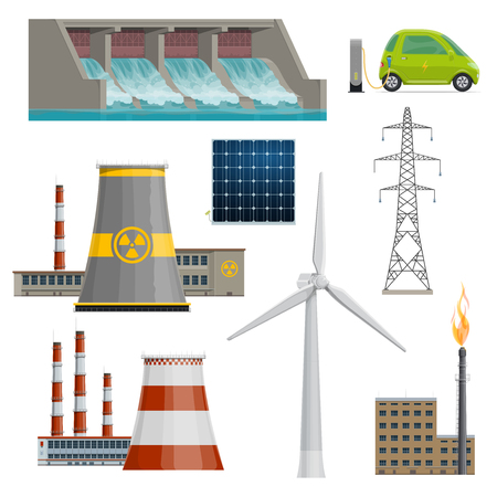 Vector icons of power stations