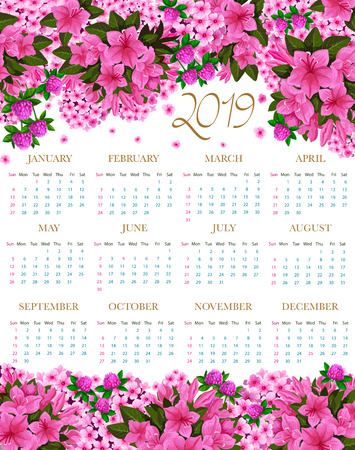 2019 vector calendar of spring pink flowers Stock Vector - 104009913