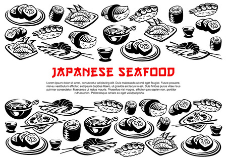 Japanese seafood poster of vector rolls and sushi Illustration
