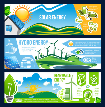 Solar, wind and hydro energy banner of green power