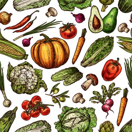 Vegetables natural fresh sketch vector backdrop