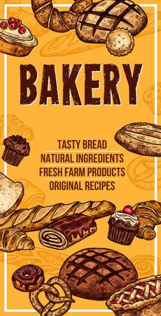 Vector bread sketch banner for bakery shop Çizim