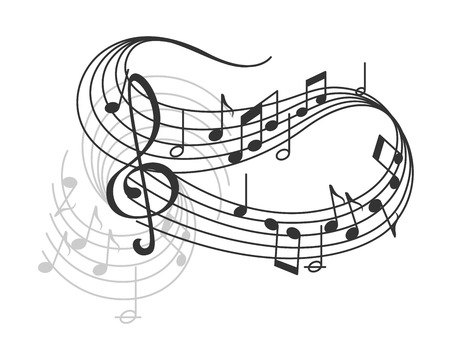 Vector music notes on staff poster