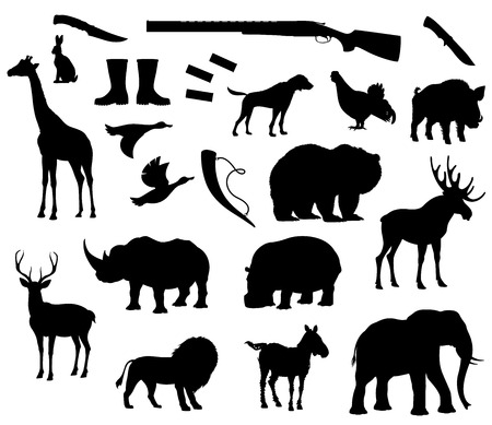 Vector animals silhouette isolated icons for hunt