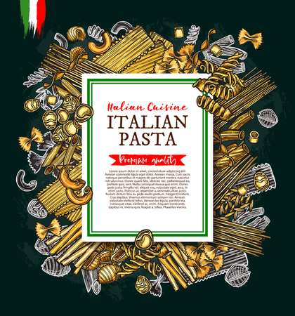 Italian pasta and spaghetti vector sketch poster