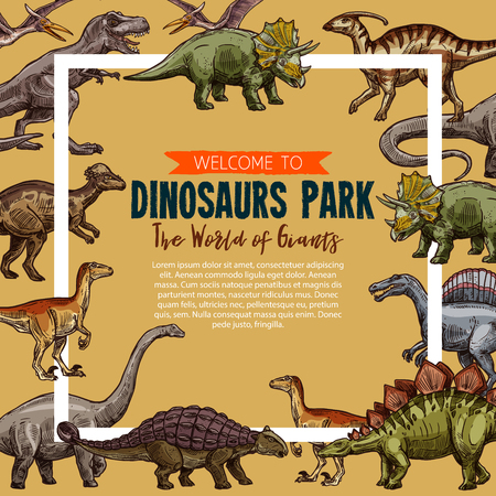 Vector sketch poster for dinosaurs park