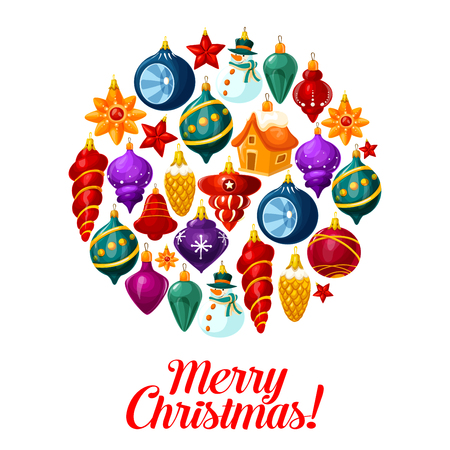 Christmas tree ball poster, composed of Xmas ornaments. New Year bauble in shape of snowman, bell and star, house, pine tree cone and icicle with wishes of Merry Xmas for winter holidays greeting card