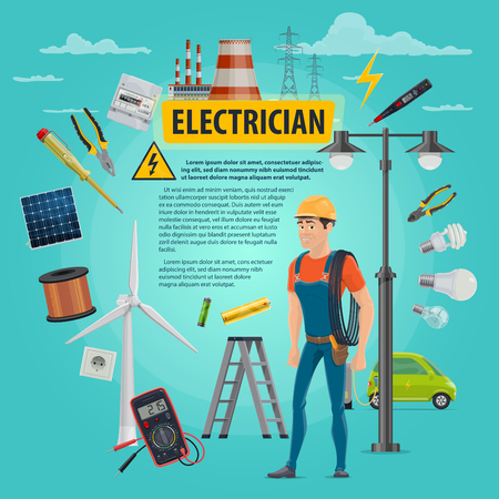 Vector electircian profession man poster