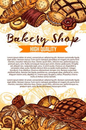 Vector sketch bread poster for bakery shop