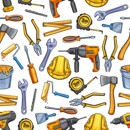 Vector work tools repair sketch seamless pattern 일러스트