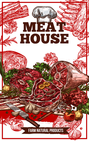Vector sketch meat house poster 일러스트