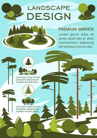 Landscape design and gardening service banner  イラスト・ベクター素材