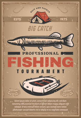 Vector poster for professional fishing tournament  イラスト・ベクター素材