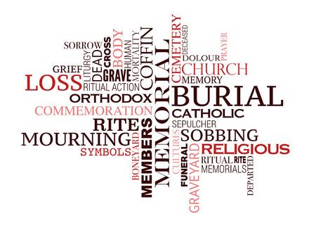 Beerdigung Wortwolke des Konzepts der Bestattungszeremonie. Trauersymbole der Kultur und Religion für Respekt und Erinnerung an das Design der Leichen-Death-Tag-Cloud Vektorgrafik