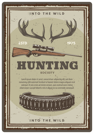Vector hunting club open season sketch poster Illusztráció