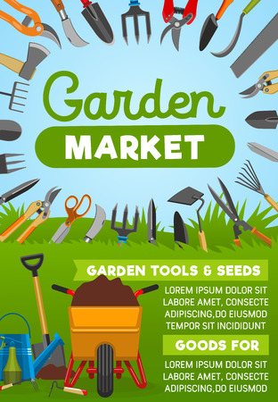 Gardening tool banner with agriculture equipment