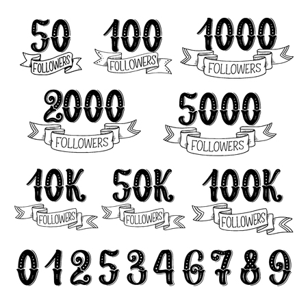Followers quantity numbers lettering icons