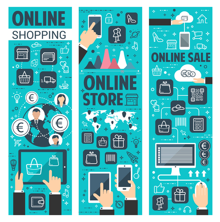 Online shopping vector banners for internet retail Vectores