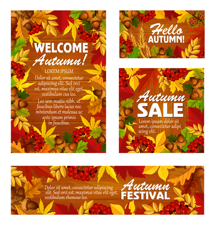 Autumn sale banner and fall festival poster design
