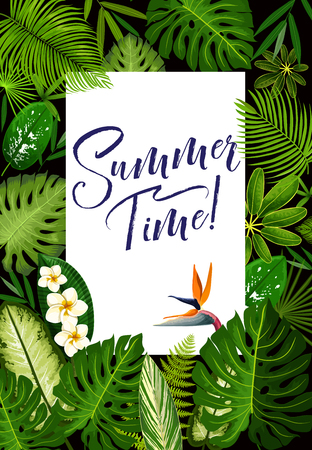 Summer vacation festive banner with tropical jungle leaf and hawaiian flower for exotic summer time holidays template. Green leaf of palm frame with plumeria and strelitzia blossom for travel design