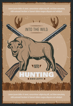 Hunter and hunt for bull vector poster design Stock Vector - 104011884