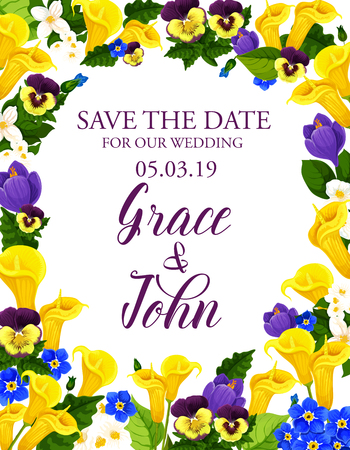 Flowers vector Save the Date wedding card